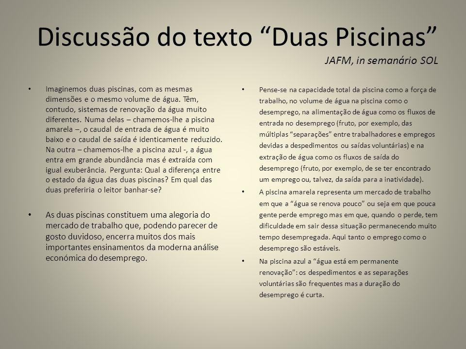 Discussão do texto Duas Piscinas JAFM, in semanário SOL