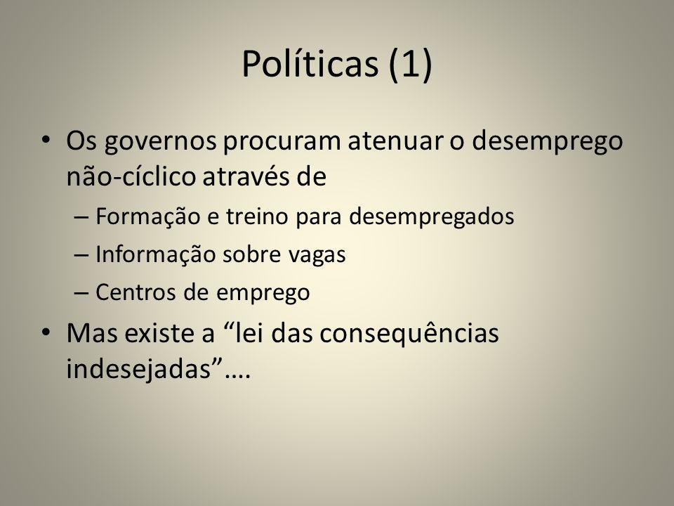 Políticas (1) Os governos procuram atenuar o desemprego não-cíclico através de. Formação e treino para desempregados.
