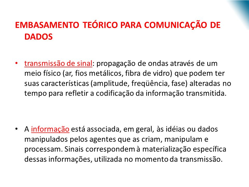 EMBASAMENTO TEÓRICO PARA COMUNICAÇÃO DE DADOS
