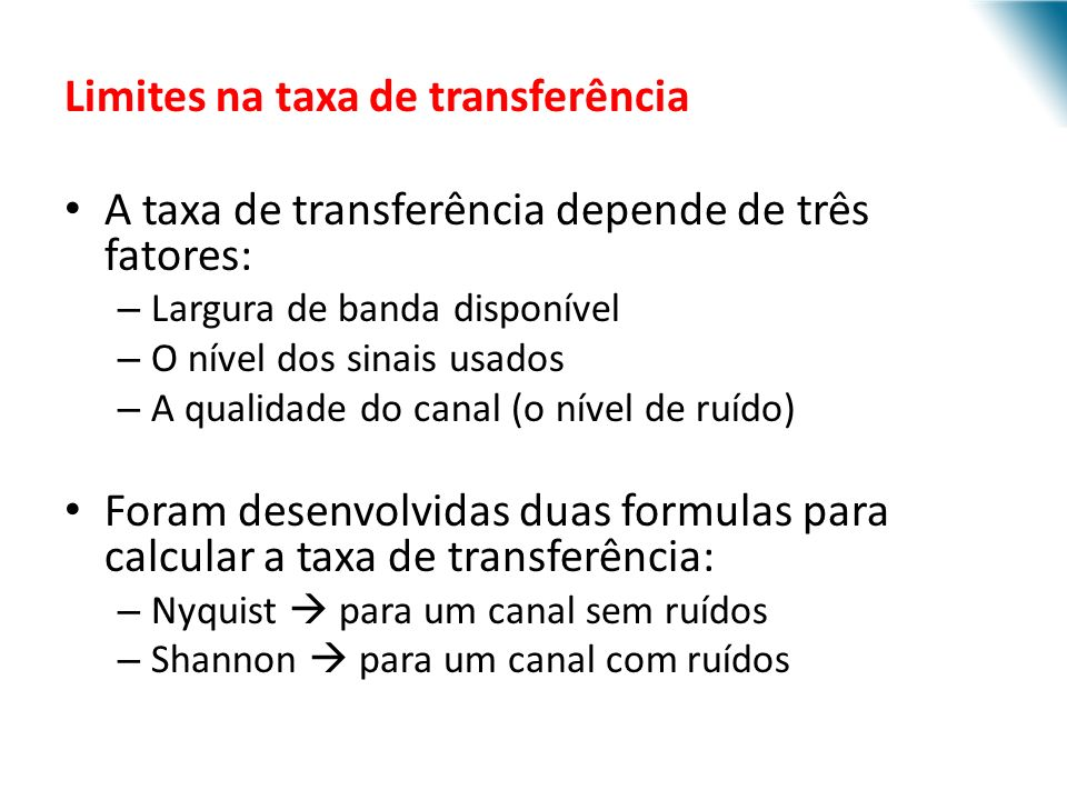 Limites na taxa de transferência