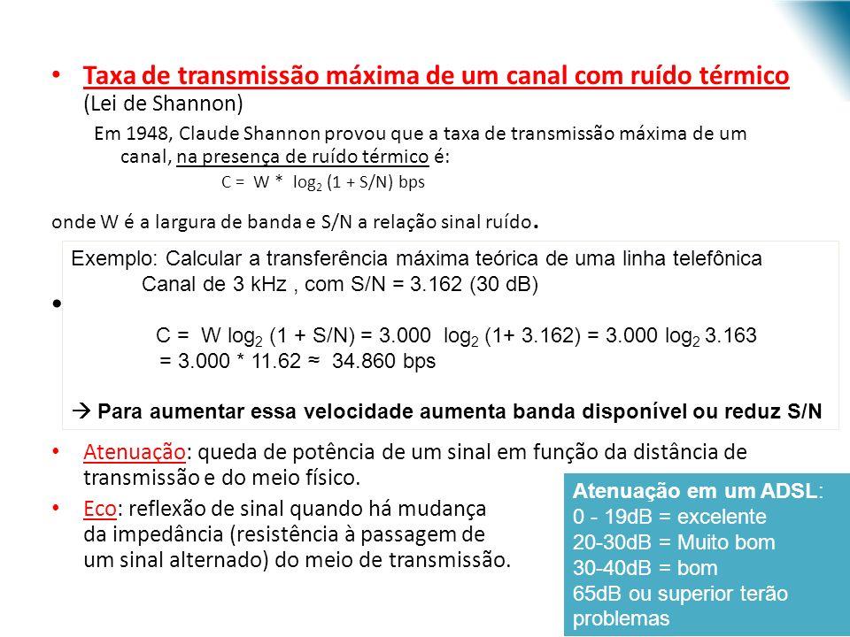 Taxa de transmissão máxima de um canal com ruído térmico (Lei de Shannon)