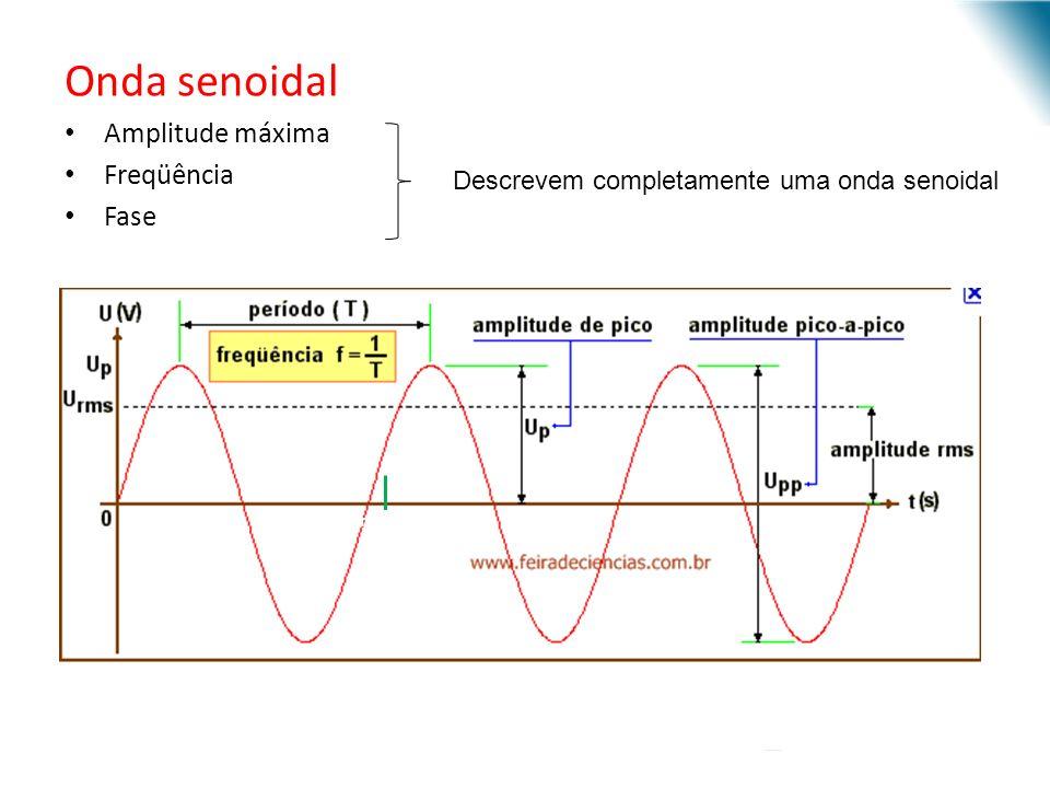 Onda senoidal Amplitude máxima Freqüência Fase