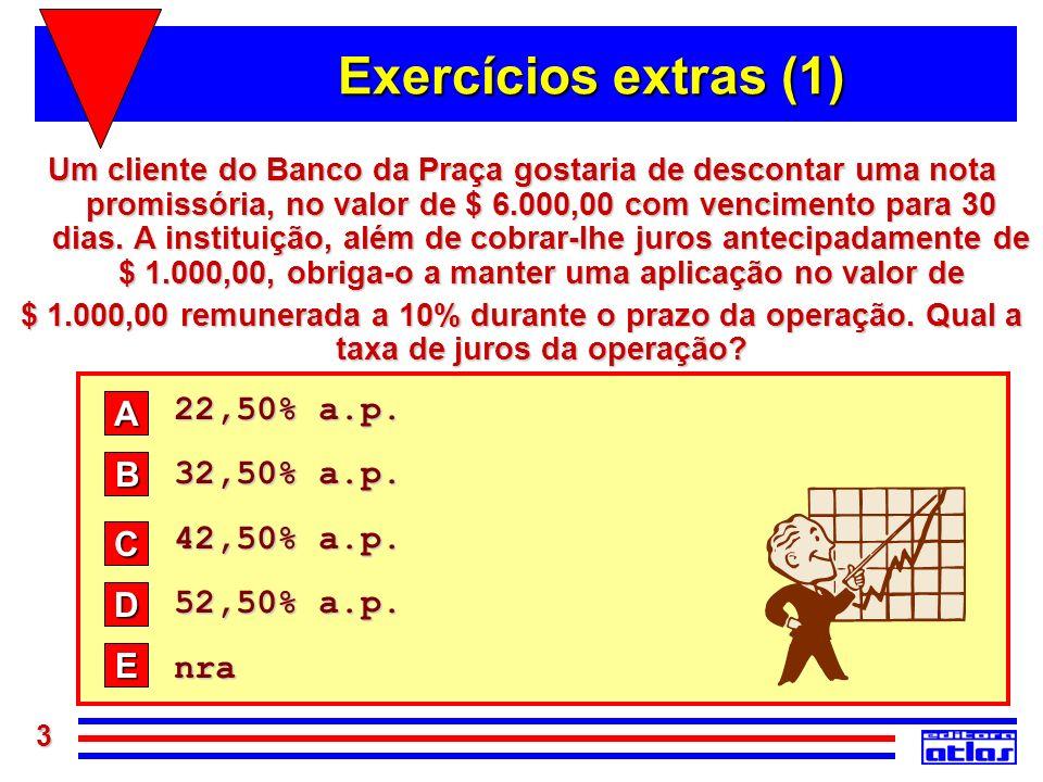 Exercícios extras (1) 22,50% a.p. A 32,50% a.p. 42,50% a.p. B