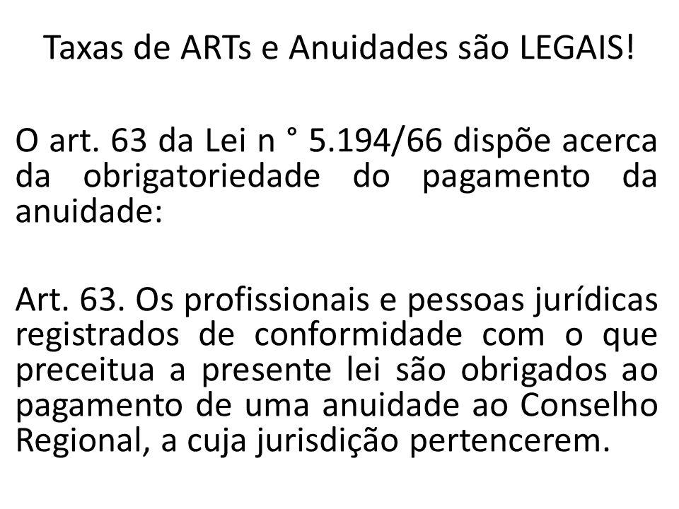 Taxas de ARTs e Anuidades são LEGAIS!
