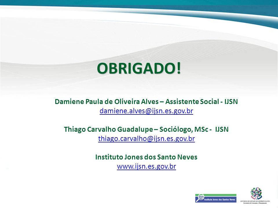 OBRIGADO! Damiene Paula de Oliveira Alves – Assistente Social - IJSN