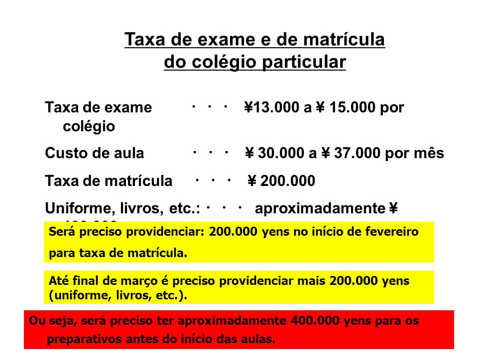 Taxa de exame e de matrícula do colégio particular