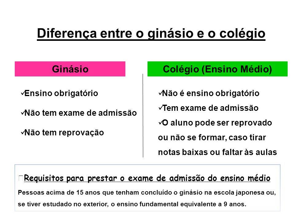 Diferença entre o ginásio e o colégio