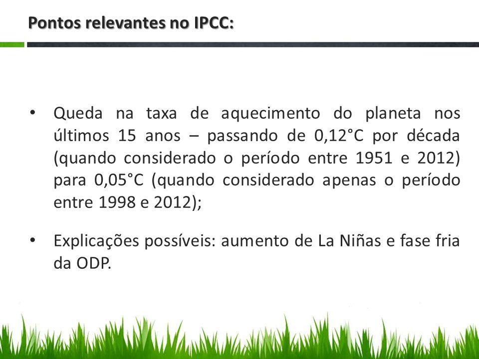 Pontos relevantes no IPCC: