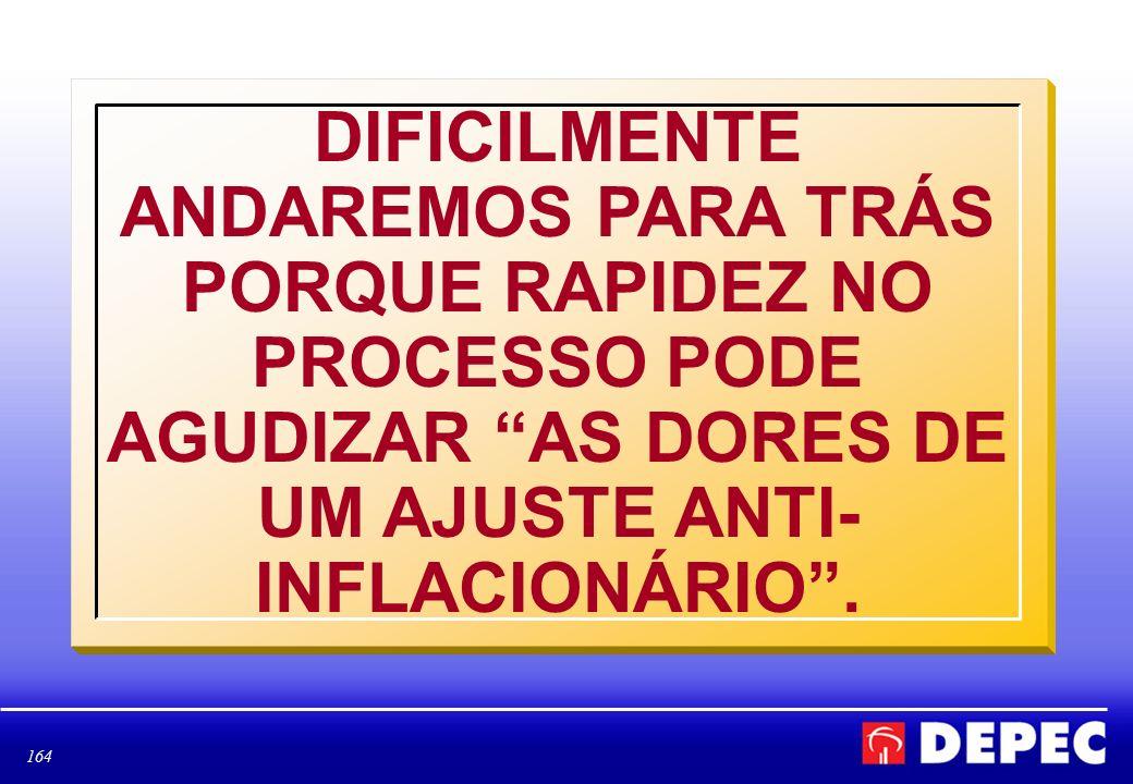 DIFICILMENTE ANDAREMOS PARA TRÁS PORQUE RAPIDEZ NO PROCESSO PODE AGUDIZAR AS DORES DE UM AJUSTE ANTI-INFLACIONÁRIO .