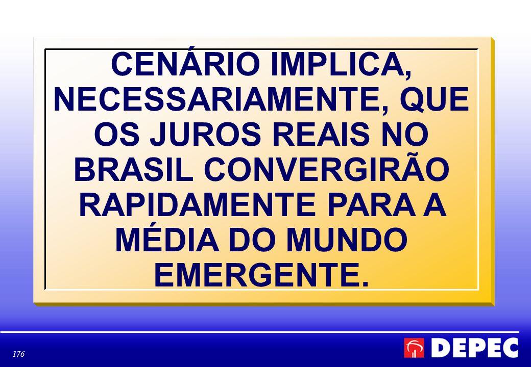 CENÁRIO IMPLICA, NECESSARIAMENTE, QUE OS JUROS REAIS NO BRASIL CONVERGIRÃO RAPIDAMENTE PARA A MÉDIA DO MUNDO EMERGENTE.