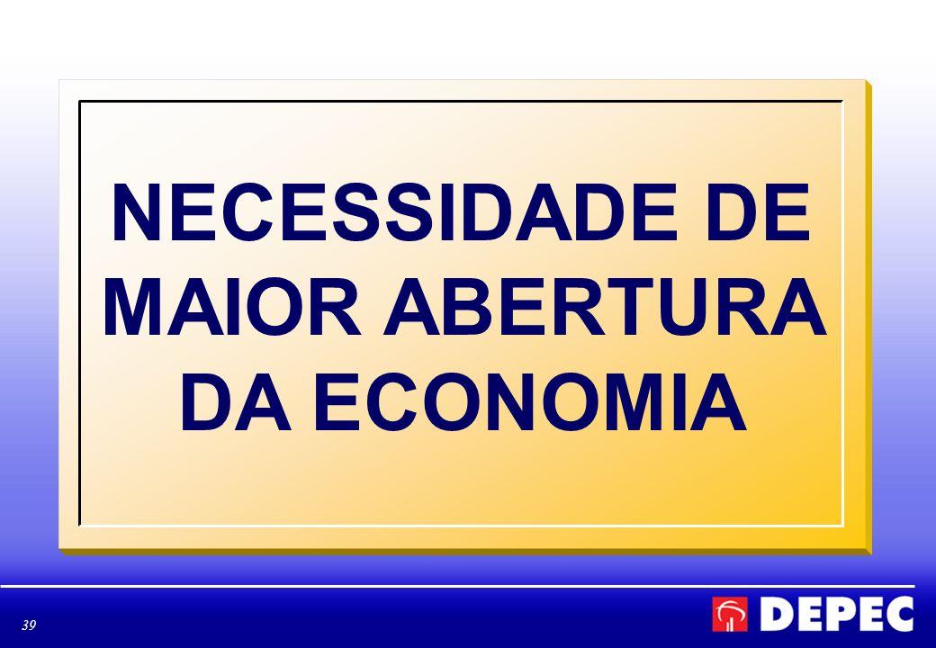 NECESSIDADE DE MAIOR ABERTURA DA ECONOMIA