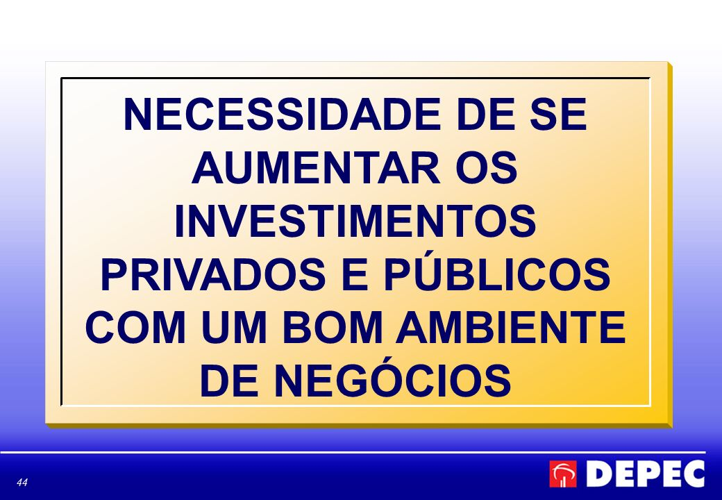 NECESSIDADE DE SE AUMENTAR OS INVESTIMENTOS PRIVADOS E PÚBLICOS COM UM BOM AMBIENTE DE NEGÓCIOS