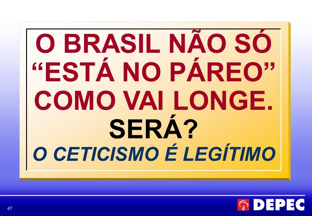 O BRASIL NÃO SÓ ESTÁ NO PÁREO COMO VAI LONGE. SERÁ