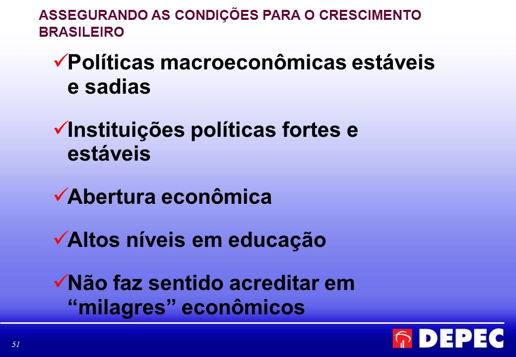 Políticas macroeconômicas estáveis e sadias