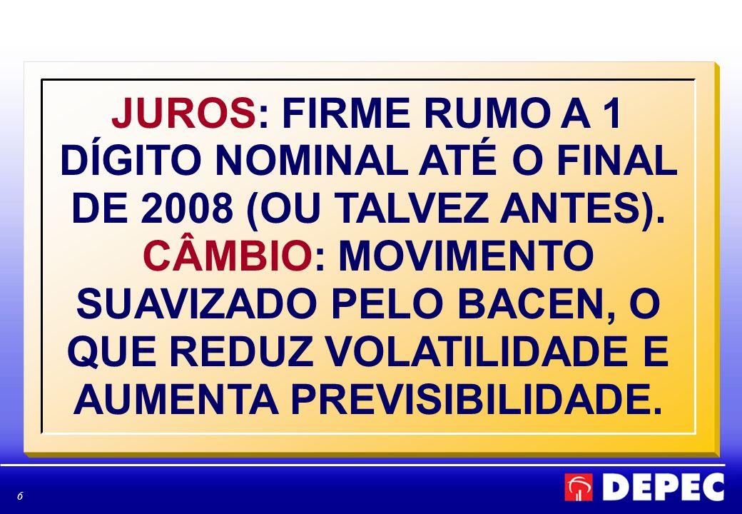 JUROS: FIRME RUMO A 1 DÍGITO NOMINAL ATÉ O FINAL DE 2008 (OU TALVEZ ANTES).