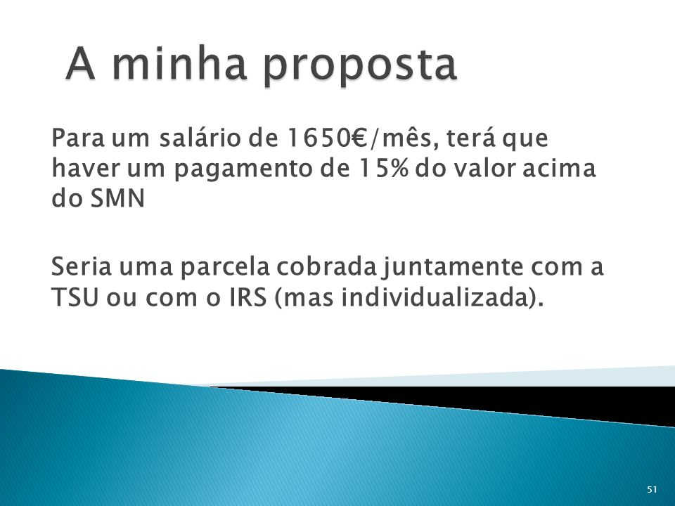 A minha proposta Para um salário de 1650€/mês, terá que haver um pagamento de 15% do valor acima do SMN.