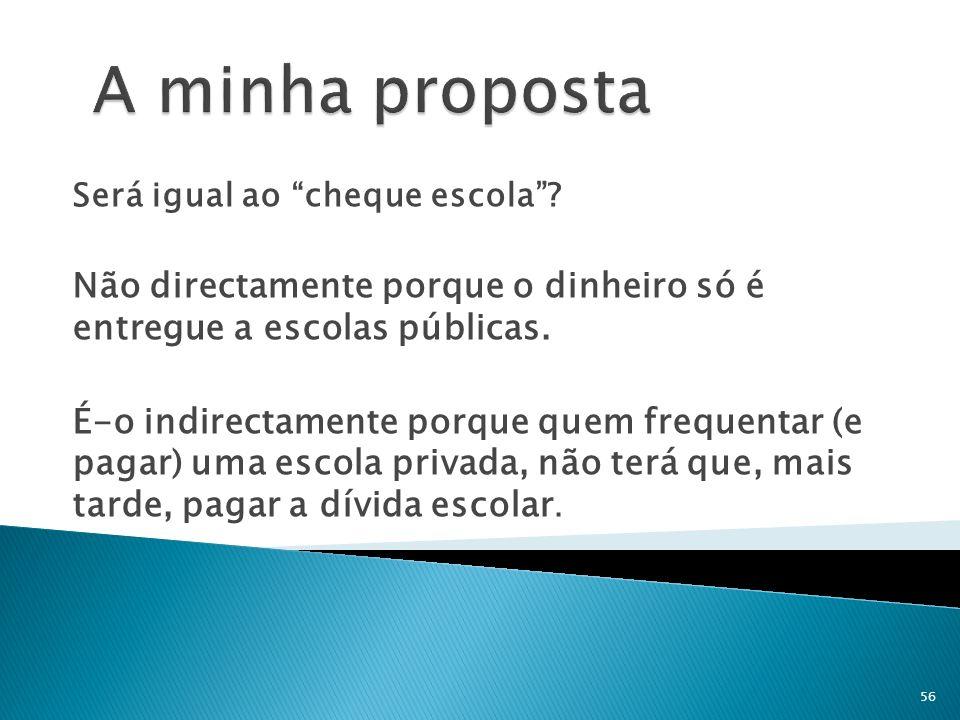 A minha proposta Será igual ao cheque escola Não directamente porque o dinheiro só é entregue a escolas públicas.