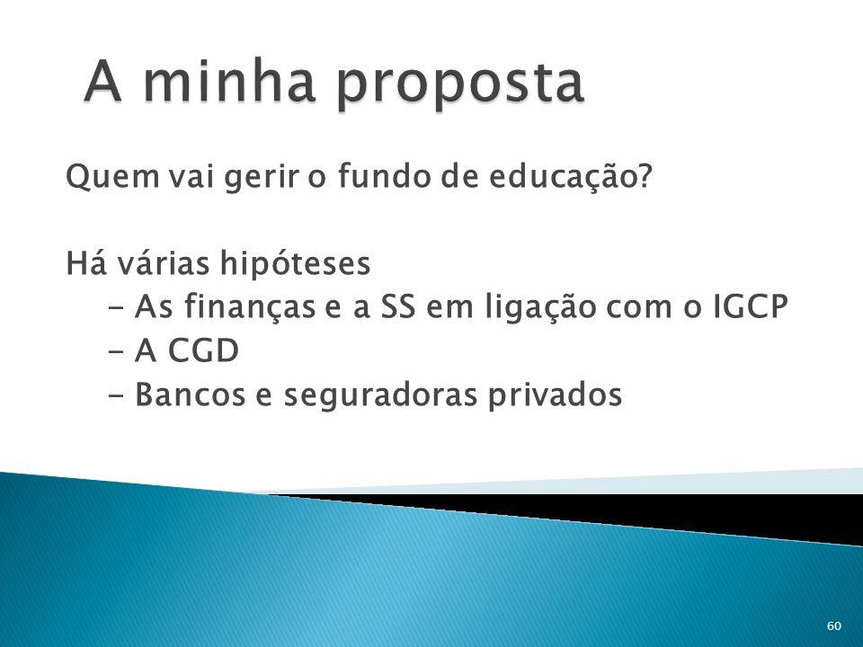 A minha proposta Quem vai gerir o fundo de educação