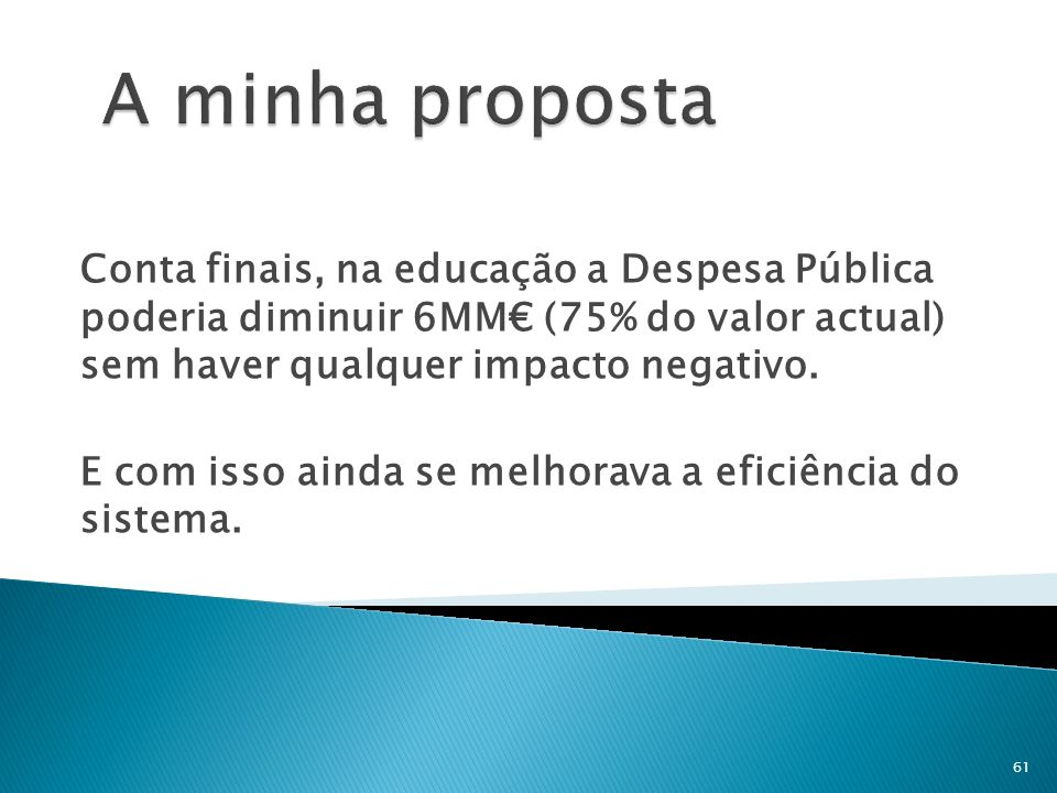 A minha proposta Conta finais, na educação a Despesa Pública poderia diminuir 6MM€ (75% do valor actual) sem haver qualquer impacto negativo.