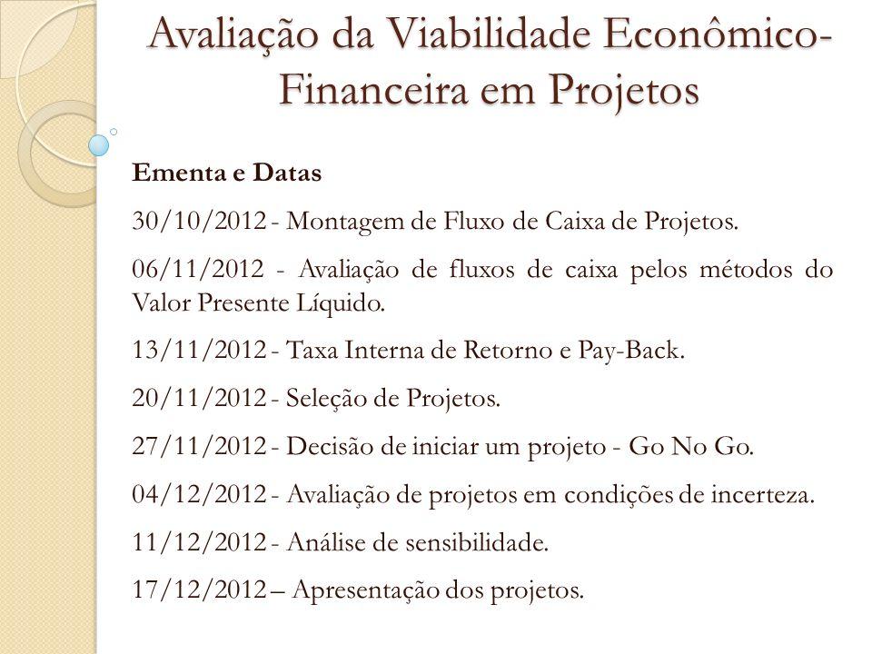 Avaliação da Viabilidade Econômico-Financeira em Projetos