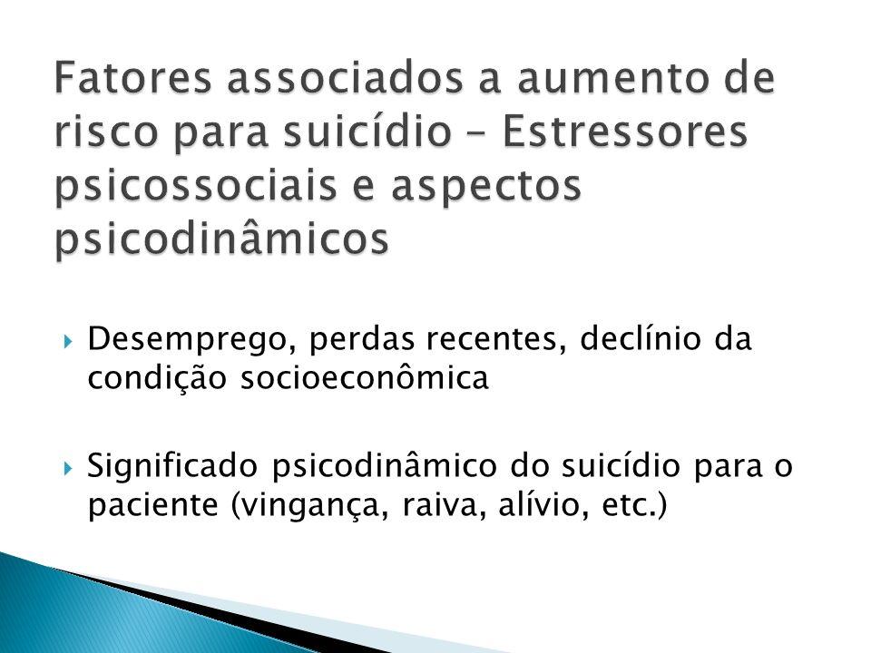 Fatores associados a aumento de risco para suicídio – Estressores psicossociais e aspectos psicodinâmicos
