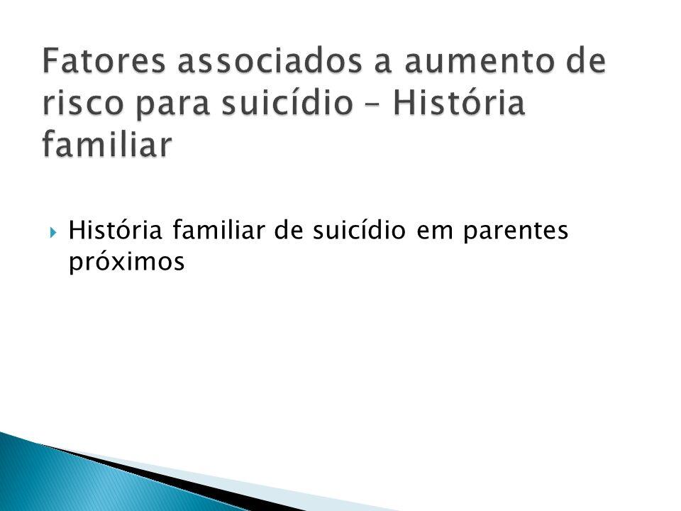 Fatores associados a aumento de risco para suicídio – História familiar