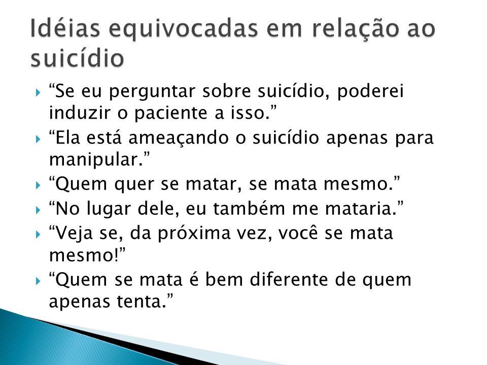 Idéias equivocadas em relação ao suicídio