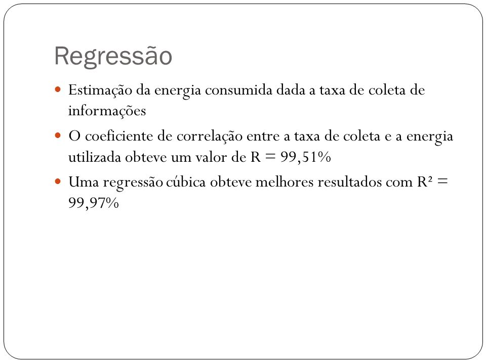 Regressão Estimação da energia consumida dada a taxa de coleta de informações.