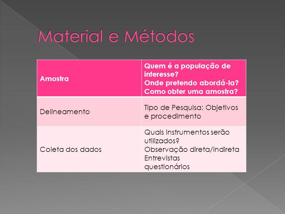 Material e Métodos Amostra Quem é a população de interesse