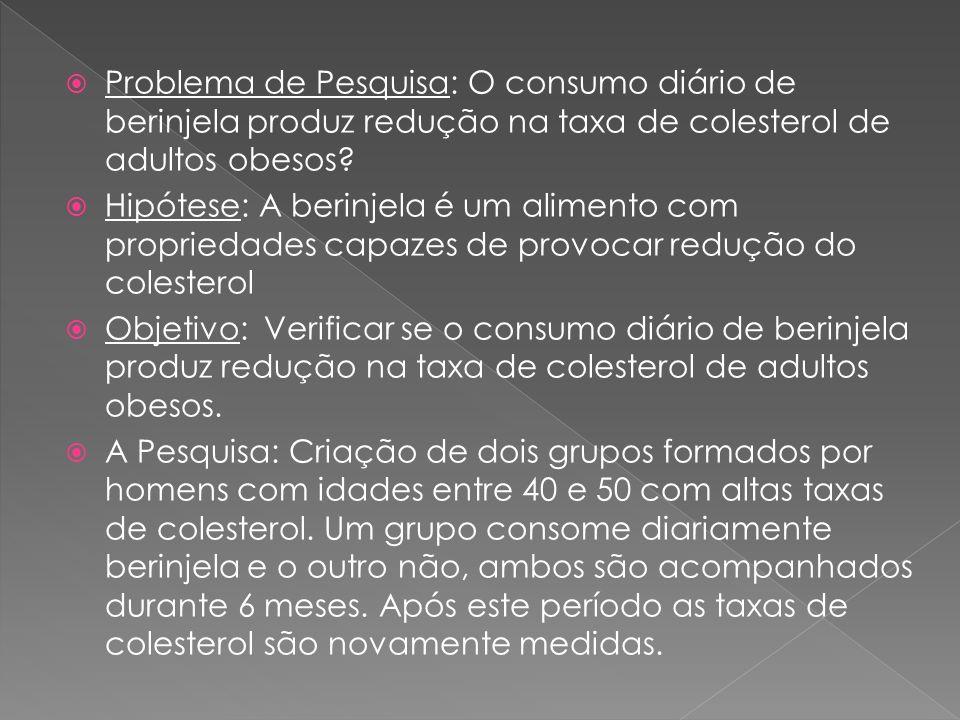 Problema de Pesquisa: O consumo diário de berinjela produz redução na taxa de colesterol de adultos obesos