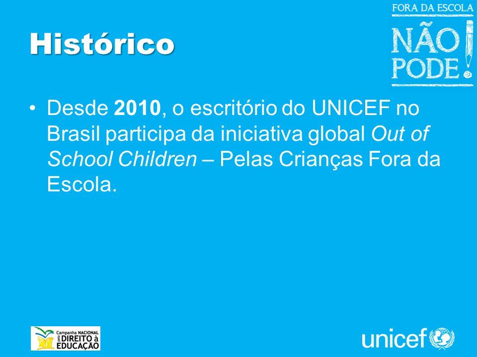 Histórico Desde 2010, o escritório do UNICEF no Brasil participa da iniciativa global Out of School Children – Pelas Crianças Fora da Escola.