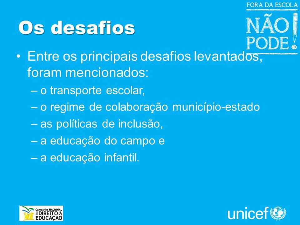 Os desafios Entre os principais desafios levantados, foram mencionados: o transporte escolar, o regime de colaboração município-estado.