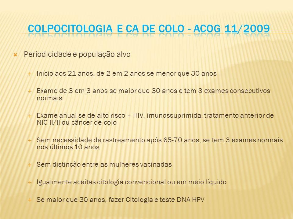 Colpocitologia e ca de colo - Acog 11/2009