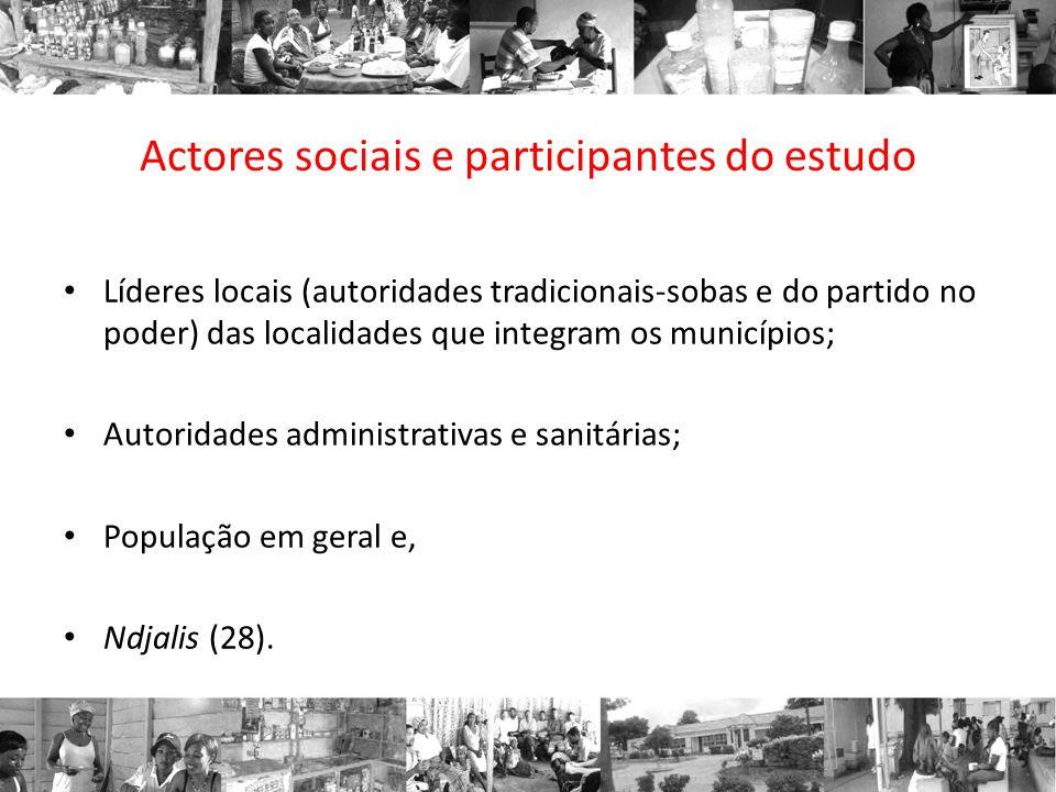 Actores sociais e participantes do estudo