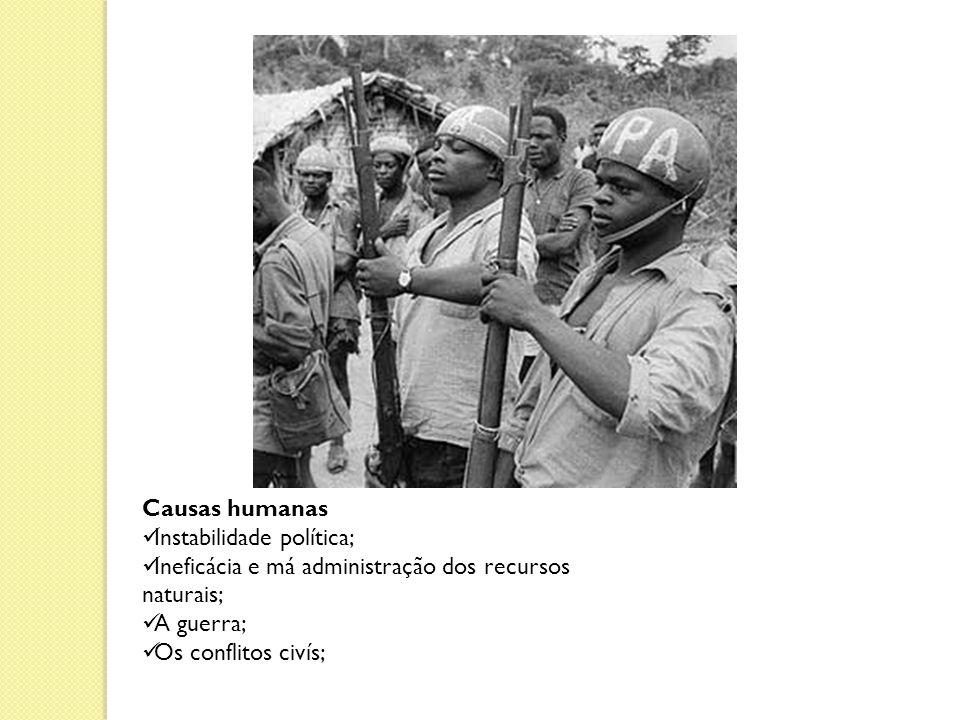 Causas humanas Instabilidade política; Ineficácia e má administração dos recursos naturais; A guerra;