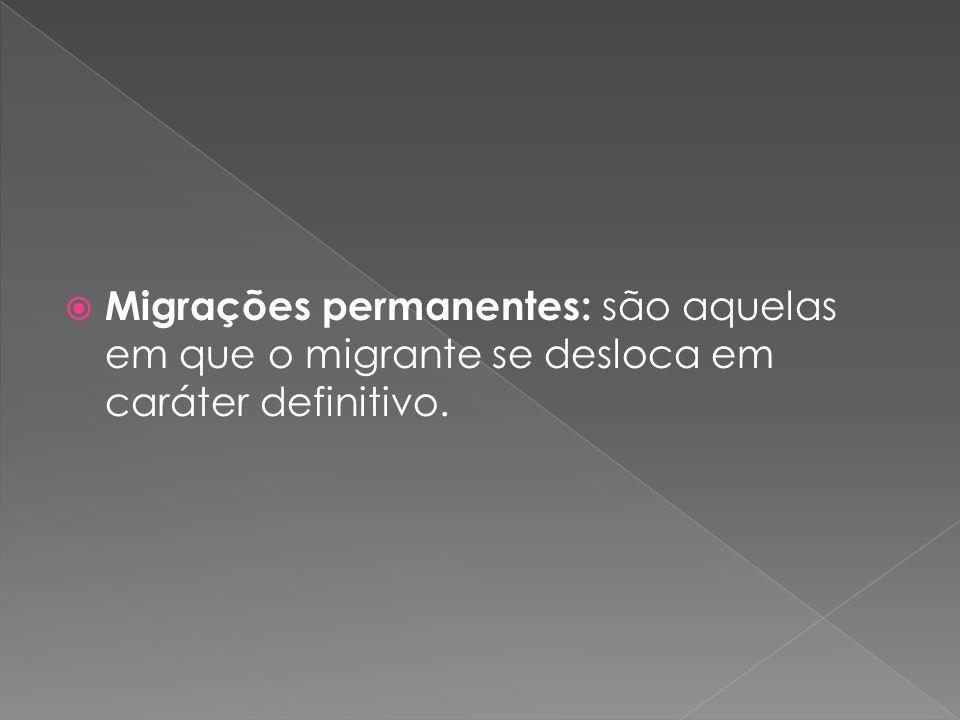 Migrações permanentes: são aquelas em que o migrante se desloca em caráter definitivo.
