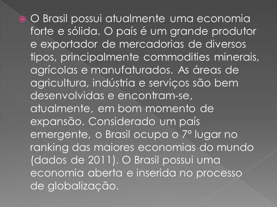 O Brasil possui atualmente uma economia forte e sólida