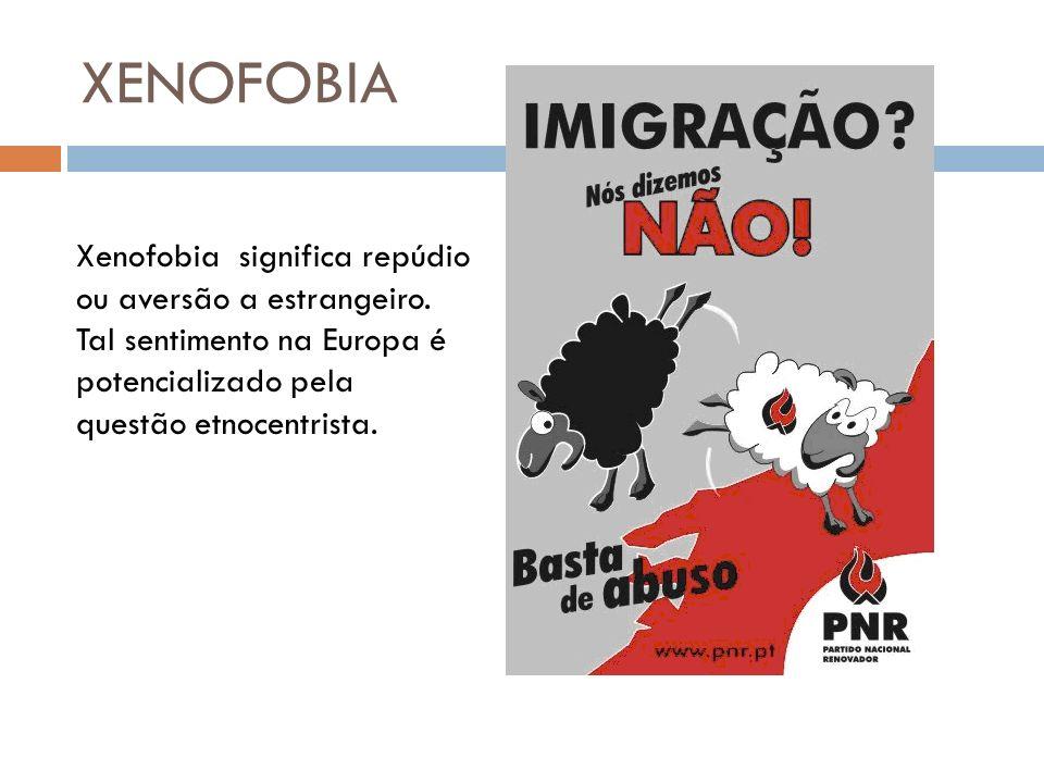 XENOFOBIA Xenofobia significa repúdio ou aversão a estrangeiro.