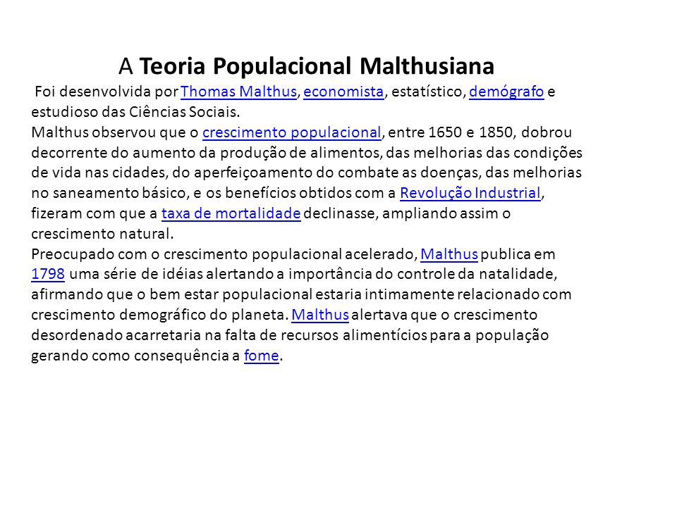 A Teoria Populacional Malthusiana