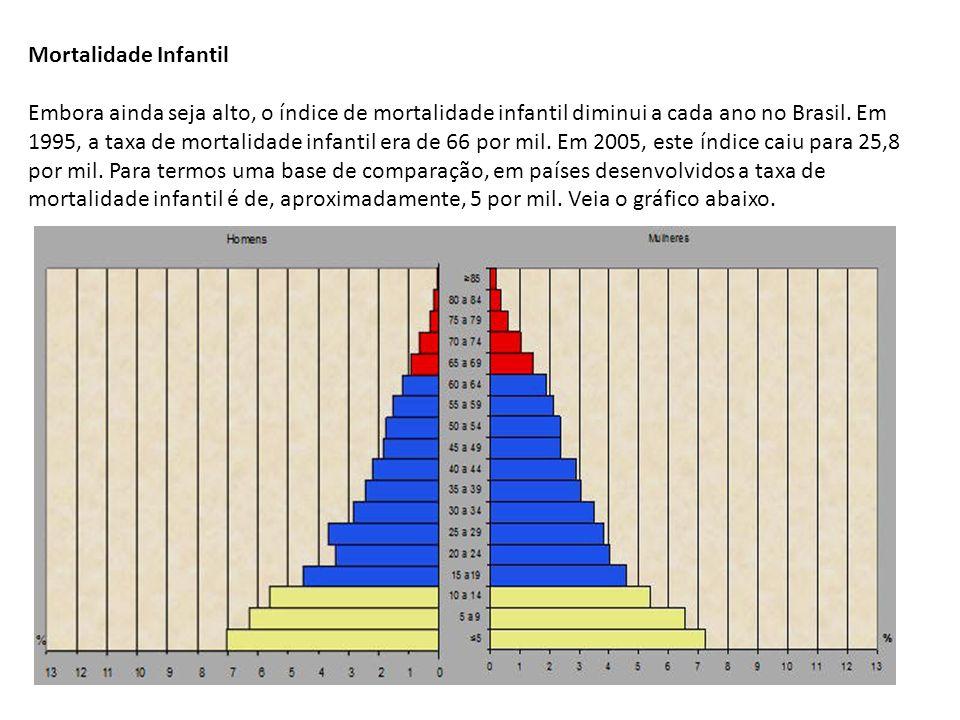 Mortalidade Infantil Embora ainda seja alto, o índice de mortalidade infantil diminui a cada ano no Brasil.