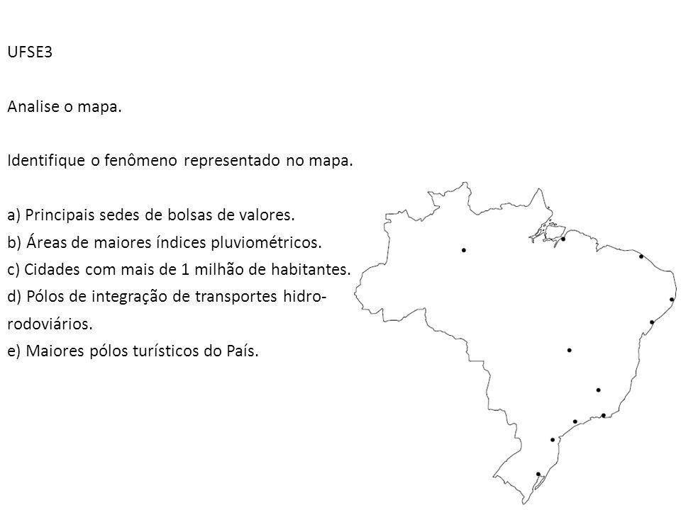 UFSE3 Analise o mapa. Identifique o fenômeno representado no mapa. a) Principais sedes de bolsas de valores.