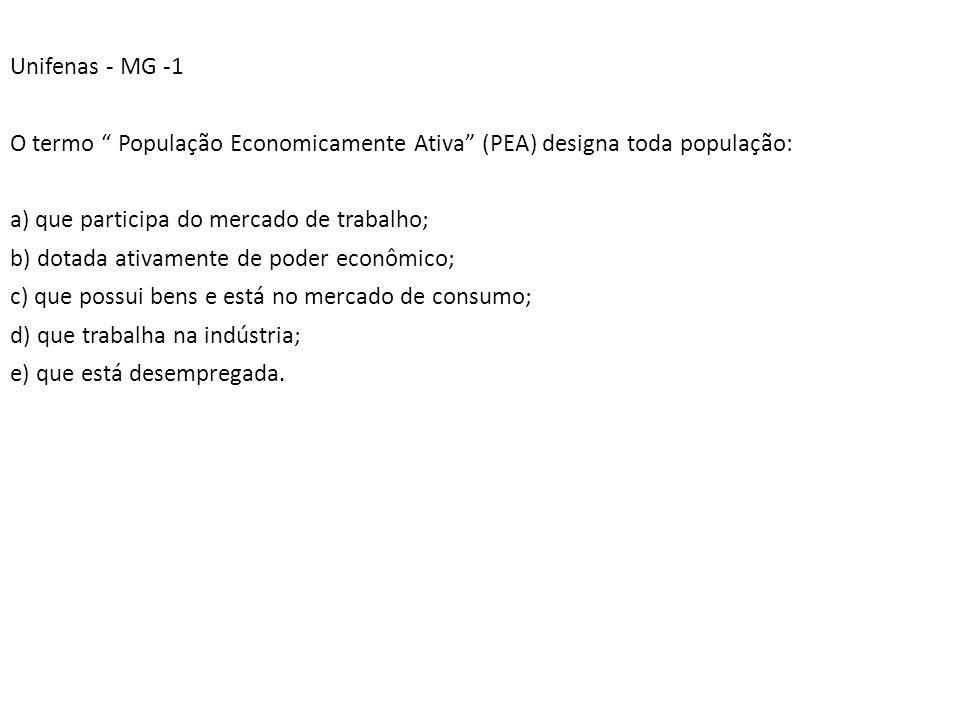 Unifenas - MG -1 O termo População Economicamente Ativa (PEA) designa toda população: a) que participa do mercado de trabalho;