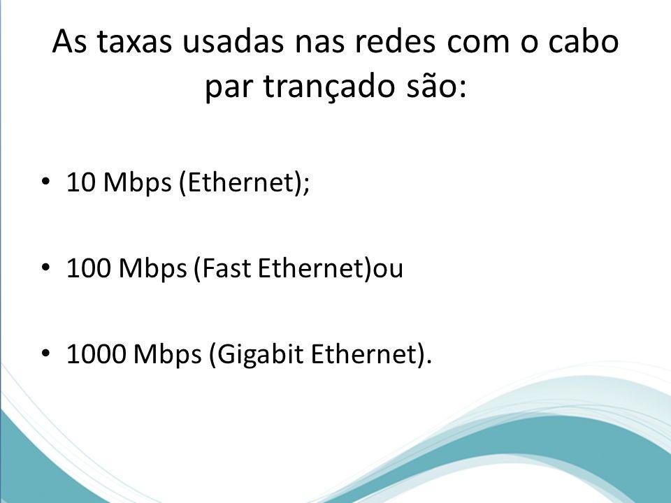 As taxas usadas nas redes com o cabo par trançado são: