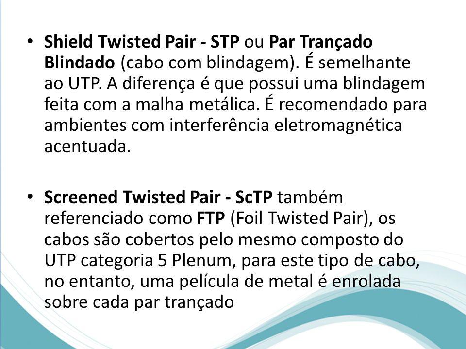 Shield Twisted Pair - STP ou Par Trançado Blindado (cabo com blindagem). É semelhante ao UTP. A diferença é que possui uma blindagem feita com a malha metálica. É recomendado para ambientes com interferência eletromagnética acentuada.
