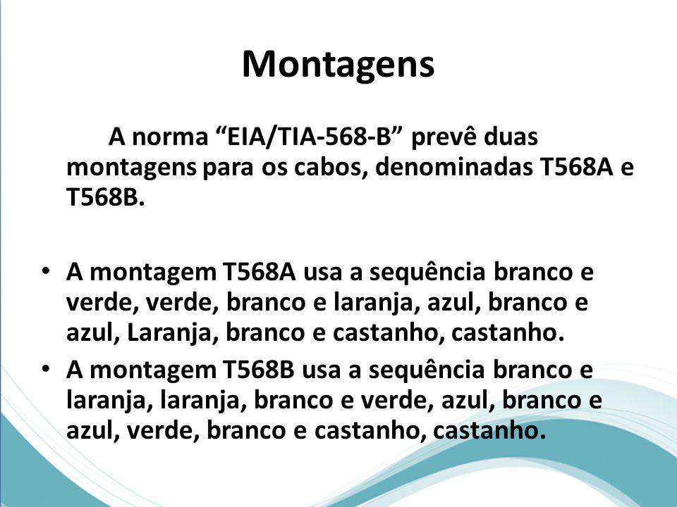 Montagens A norma EIA/TIA-568-B prevê duas montagens para os cabos, denominadas T568A e T568B.