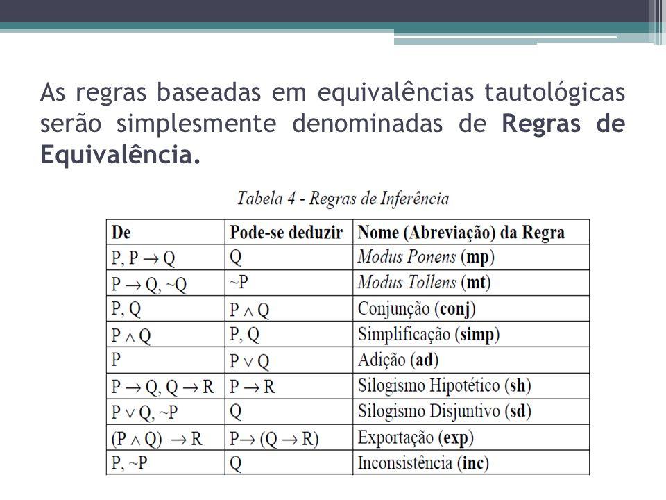 As regras baseadas em equivalências tautológicas serão simplesmente denominadas de Regras de Equivalência.