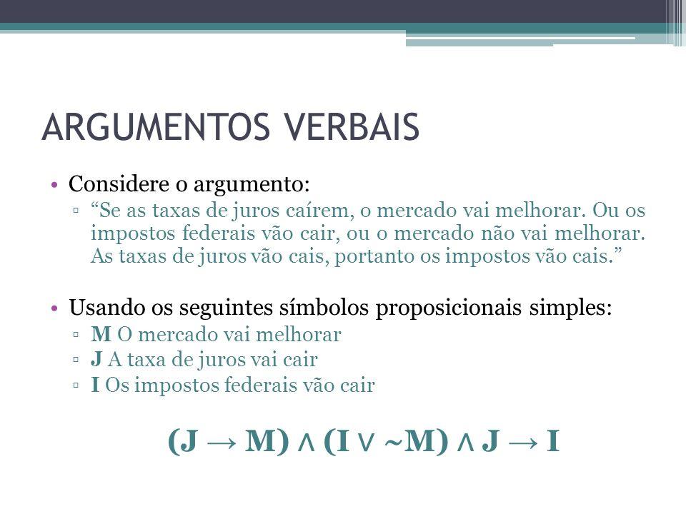 ARGUMENTOS VERBAIS Considere o argumento: