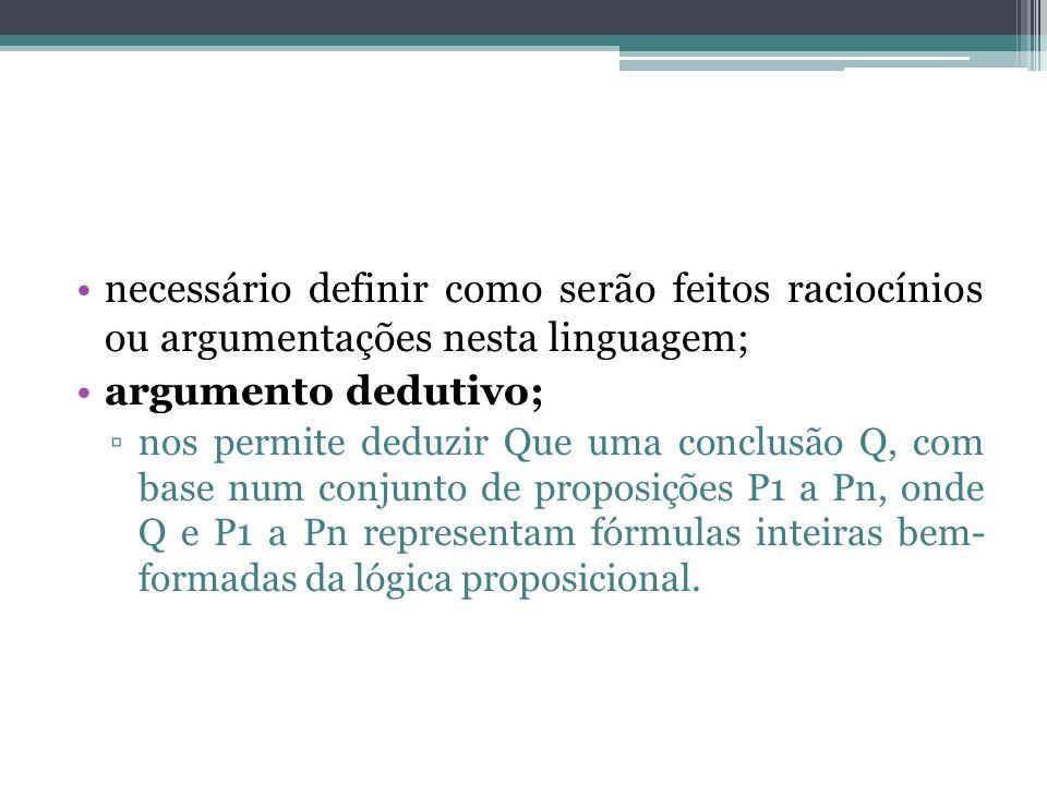 necessário definir como serão feitos raciocínios ou argumentações nesta linguagem;