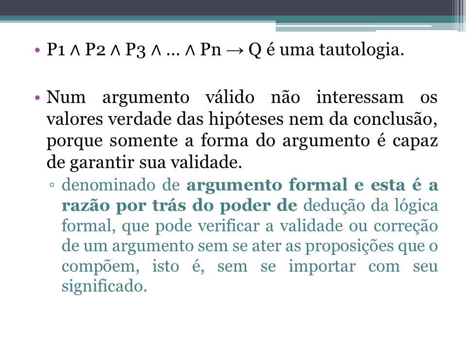 P1 ∧ P2 ∧ P3 ∧ ... ∧ Pn → Q é uma tautologia.