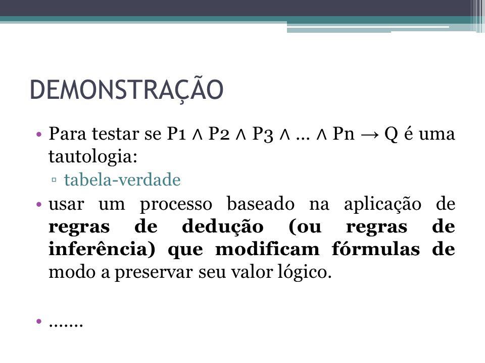 DEMONSTRAÇÃO Para testar se P1 ∧ P2 ∧ P3 ∧ ... ∧ Pn → Q é uma tautologia: tabela-verdade.